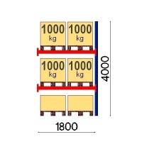 Pallställ följesektion 4000x1800 1000kg/6 pallar OPTIMA