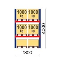 Pallställ startsektion 4000x1800 1000kg/6 pallar OPTIMA