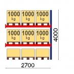 Pallställ följesektion 4000x2700 1000kg/9 pallar OPTIMA