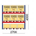 Pallställ startsektion 4000x2700 1000kg/9 pallar OPTIMA