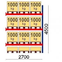 Pallställ följesektion 4500x2700 1000kg/12 pallar OPTIMA