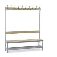 Single bench 1700x1500x400 with 10 hook rail and shoe shelf