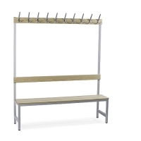 Single bench 1700x1500x400 with 10 hook rail