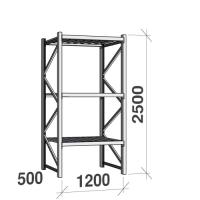 Lagerhylla startsektion 2500x1200x500 600kg/hyllplan,3 hyllor, zinkplåt
