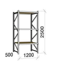 Lagerhylla startsektion 2500x1200x500 600kg/hyllplan,3 hyllor, spånskiva