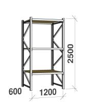 Lagerhylla startsektion 2500x1200x600 600kg/hyllplan,3 hyllor, spånskiva
