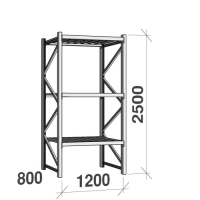 Lagerhylla startsektion 2500x1200x800 600kg/hyllplan,3 hyllor, zinkplåt