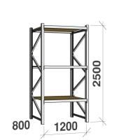 Lagerhylla startsektion 2500x1200x800 600kg/hyllplan,3 hyllor, spånskiva