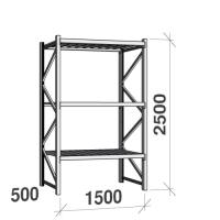 Lagerhylla startsektion 2500x1500x500 600kg/hyllplan,3 hyllor, zinkplåt