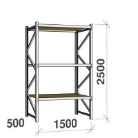 Lagerhylla startsektion 2500x1500x500 600kg/hyllplan,3 hyllor, spånskiva