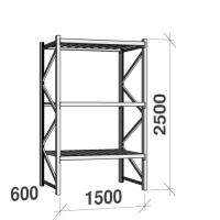 Lagerhylla startsektion 2500x1500x600 600kg/hyllplan,3 hyllor, zinkplåt
