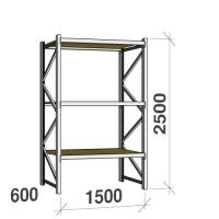 Lagerhylla startsektion 2500x1500x600 600kg/hyllplan,3 hyllor, spånskiva