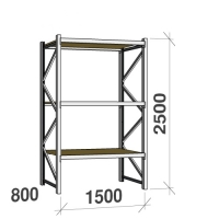 Lagerhylla startsektion 2500x1500x800 600kg/hyllplan,3 hyllor, spånskiva