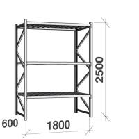 Lagerhylla startsektion 2500x1800x600 480kg/hyllplan,3 hyllor, zinkplåt