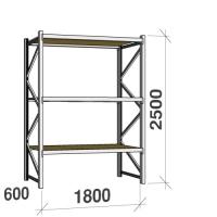 Lagerhylla startsektion 2500x1800x600 480kg/hyllplan,3 hyllor, spånskiva