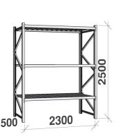 Lagerhylla startsektion 2500x2300x500 350kg/hyllplan,3 hyllor, zinkplåt