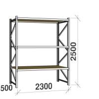 Lagerhylla startsektion 2500x2300x500 350kg/hyllplan, 3 spånskiva