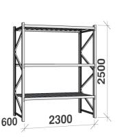 Lagerhylla startsektion 2500x2300x600 350kg/hyllplan,3 hyllor, zinkplåt