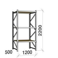 Lagerhylla startsektion 2200x1200x500 600kg/hyllplan,3 hyllor, spånskiva