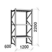 Lagerhylla startsektion 2200x1200x600 600kg/hyllplan,3 hyllor, zinkplåt