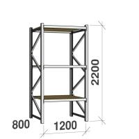Lagerhylla startsektion 2200x1200x800 600kg/hyllplan,3 hyllor, spånskiva