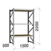 Lagerhylla startsektion 2200x1500x500 600kg/hyllplan,3 hyllor, spånskiva