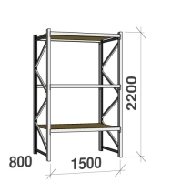 Lagerhylla startsektion 2200x1500x800 600kg/hyllplan,3 hyllor, spånskiva