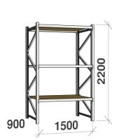 Lagerhylla startsektion 2200x1500x900 600kg/hyllplan,3 hyllor, spånskiva