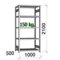 Lagerhylla startsektion 2100x1000x500 150kg/hyllplan,5 hyllor