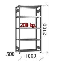 Lagerhylla startsektion 2100x1000x500 200kg/hyllplan,5 hyllor