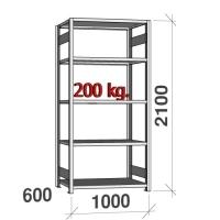 Lagerhylla startsektion 2100x1000x600 200kg/hyllplan,5 hyllor