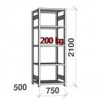 Lagerhylla startsektion 2100x750x500 200kg/hyllplan,5 hyllor