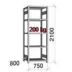 Lagerhylla startsektion 2100x750x800 200kg/hyllplan,5 hyllor