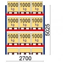 Pallställ startsektion 5025x2700 1000kg/12 pallar OPTIMA