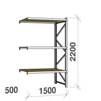 Lagerhylla följesektion 2200x1500x500 600kg/hyllplan 3 hyllor, spånskiva