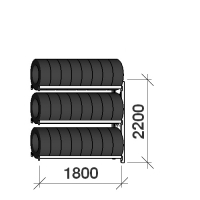 Däckställ följesektion 2200x1800x500, 3 hyllplan