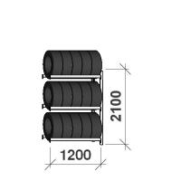 Däckställ  följesektion 2100x1200x500, 3 hyllplan,600kg/plan