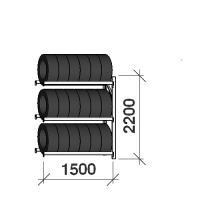 Däckställ följesektion 2200x1500x500, 3 hyllplan