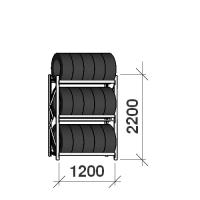 Däckställ startsektion 2200x1200x500, 3 hyllplan