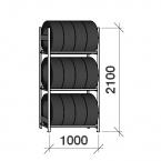 Däckställ startsektion 2100x1000x600, 3 hyllplan