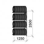 Däckställ följesektion 2500x1250x500, 4 hyllplan