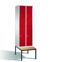2-tier locker with bench, 4 doors, 2090x610x500/815 mm