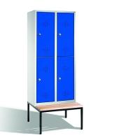 2-tier locker with bench, 4 doors, 2090x810x500/815 mm