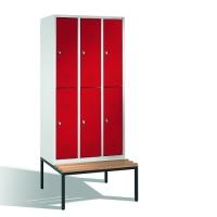 2-tier locker with bench, 6-doors, 2090x900x500/815 mm