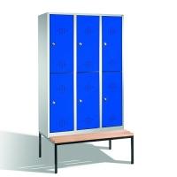 Förvaringsskåp med bänk, 6 dörrar, 2090x1200x500/815 mm