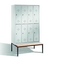 Förvaringsskåp med bänk, 8 dörrar, 2090x1190x500/815 mm