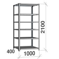 Metallhylla 2100x1000x400, 6 hyllor, 120kg/hyllplan, grå
