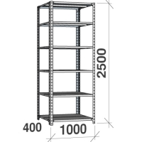 Metallhylla 2500x1000x400, 6 hyllor, 120kg/hyllplan, grå