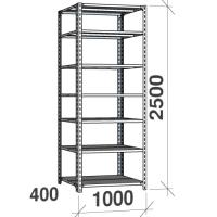 Angle shelf 2500x1000x400, 7 levels,120kg/level, gray upright/galv. shelves