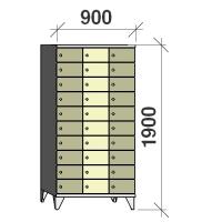 Klädskåp, 30 dörrar, 1900x900x545 mm